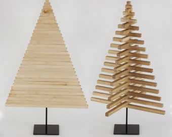 WOODEN CHRISTMAS TREE / 40 inch - 100 cm / Oak, Maple wood / Square stand in 5 colors / minimal / modern / design / sustainable