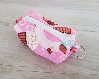 Teeny Tiny Zipper Pouch - The pefect sized travel pouch - Pink cupcakes and cherries fabric