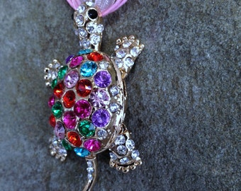 Colorful Rhinestone Turtle Pendant Necklace Nautical Jewelry Designer Style Pendant Articulating Turtle Gift for Turtle Lover or Fidgeter
