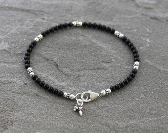 Black Onyx Bracelet, Onyx Beaded Bracelet, Black Onyx and Sterling Silver, Skinny Black Bead Bracelet with Charms
