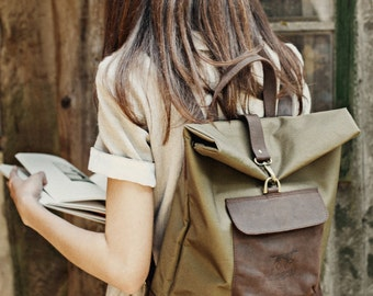 Waxed Canvas and Leather Backpack - Canvas and Leather Rucksack - Leather and Canvas Backpack