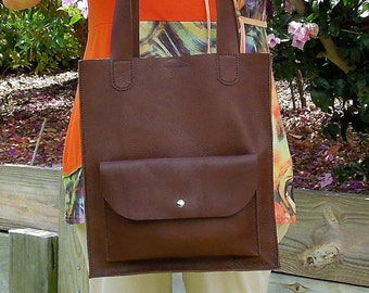 Soft Leather Tote Market Shopper