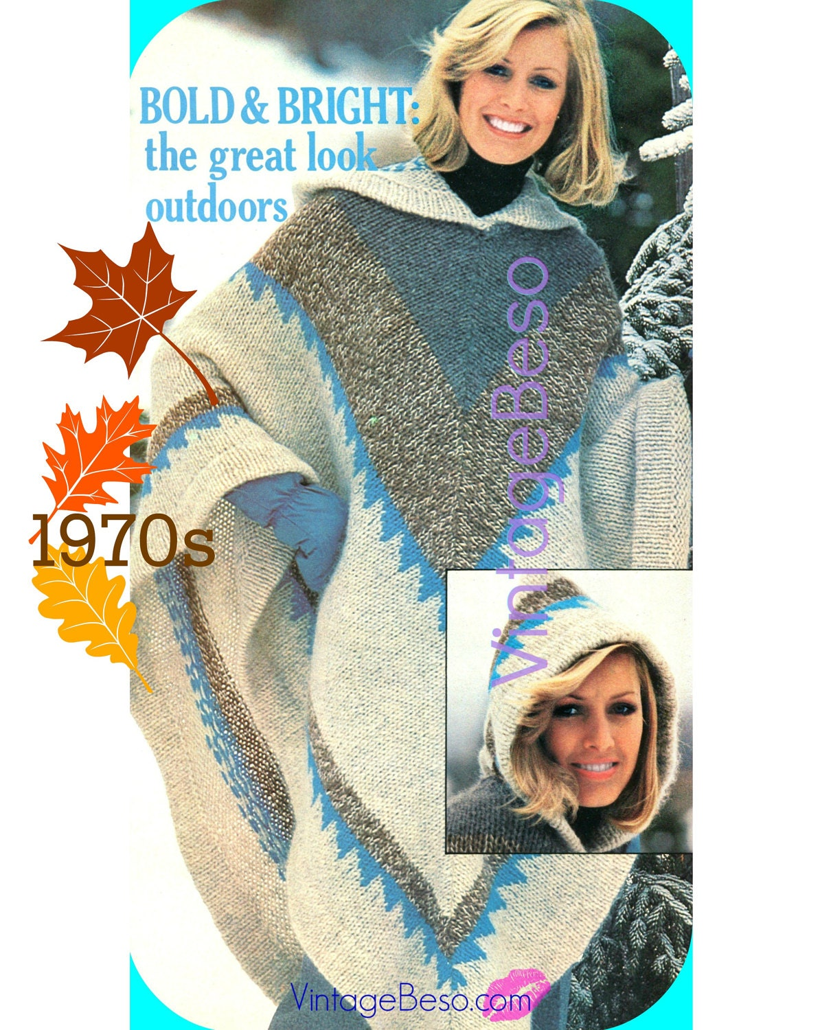 Vintage hooded poncho knitting pattern 1970s vintage poncho vintage hooded poncho knitting pattern 1970s vintage poncho pattern hooded poncho with indian diamond motif digital pattern pdf pattern bankloansurffo Image collections