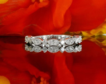 Three Quarter Way Diamond Wedding Band With Milgrain in 14k White Gold, Ladies Wedding Ring  (avail in yellow gold, rose gold and platinum)