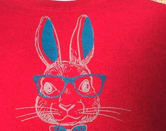 T-Shirts: Hand Pulled Screen Printed  Smart Bunny