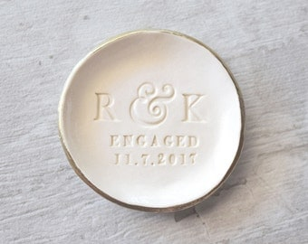 """ENGAGEMENT RING DISH personalized initials gold ring holder, engagement gift, engaged ring dish, gold ring holder, clay jewelry plate 3.75"""""""