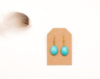 Ceramic bead earrings | turquoise gold hanging earrings | fancy, chic, handmade
