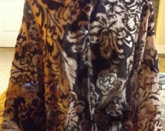 SALE Womens Brown Sheer Velvet Blouse Top XL