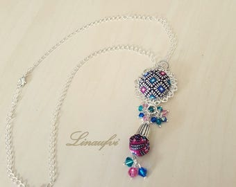Batik Necklace - Batik Pendant - Batik Jewellery - Multicolour - Swarovski Crystals - Bright Silver Tone