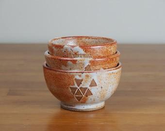 Set of 3 Small Pottery Bowls, Sauce Bowls, Dipping Bowls, Rice Bowls, Nesting Bowls