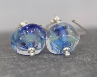 Dangle lampwork earrings ~ Sarah Downton beads ~ unusual jewellery ~ silver jewellery  ~ Christmas celebration ~ shimmer and shine birthday
