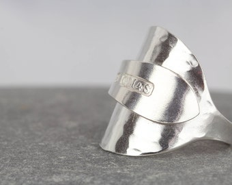 Statement spoon ring  ~ sterling silver ring for woman ~ vintage 1930s jewelley  ~ antique silver ring ~ coffee spoon ring ~ ring size O