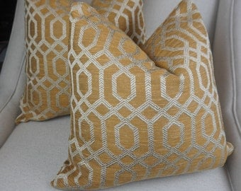 Gold Decorative Throw Pillow Cover, Geometric Gold Throw Pillow, Housewares Decor, Decorative Pillow Decor, HomeLiving, Accent Pillow 0012