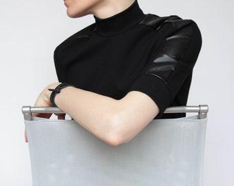 Turtleneck Black Top, Mock Neck Turtleneck, Black Minimalist Top, Short Sleeve Sweater, Minimalist Clothing, Modern Turtleneck