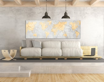 WORLD MAP Canvas Print Vintage Light Gray Neutral map World Map Panoramic Extra Large Long Wall Art Vintage Oversized huge wall art poster