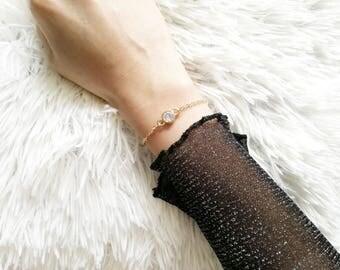 CZ Bracelet, Gold CZ Bracelet, cz Crystal Bracelet, Cubic Zirconia Bracelet, Dainty CZ Bracelet, Delicate cz Bracelet, Layering Bracelet