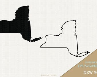 New York Vector, State Clipart, NY Clip Art, New York SVG, State PNG  (Design 13725)