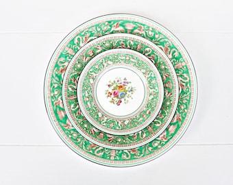 Vintage Wedgwood Florentine Green Dinner Set   FULL SET or INDIVIDUAL Pieces   Vintage China Set, Fine China Set, Green Dinner Set