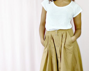 Vintage Skirt  80's Brown High Waisted Women's Skirt Long Brown Skirt