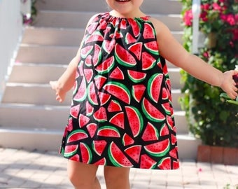 Watermelon Pillowcase Dress, Picnic Dress, Girls clothing, Baby Dress, Summer, Rustic, Country