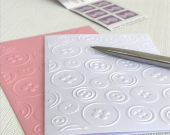 Buttons Embossed Note Cards (No.14) - Pack of 6 White Blank Cards. Gift for Sewers. Sewing Cards. Button Cards. Haberdashery