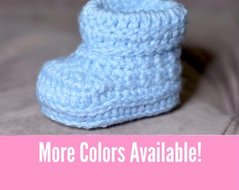 Solid Color Baby Shoes, Newborn 0-3 Months, Blue, Pink, Yellow, Green, Tan Baby Booties, Baby Shower Gift
