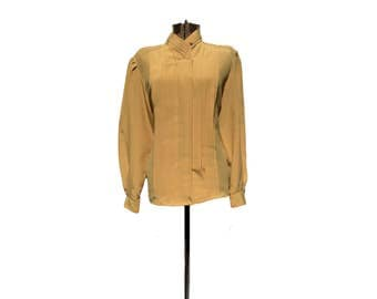 Mustard Yellow Blouse Vintage Blouse Gold Blouse Yves St Clair Mustard Yellow Top Goldenrod Top Pleated Blouse 70s Blouse Button Down