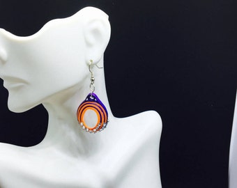 Red and Blue Dangling earrings,Boho,Paper Quilling,Artisan Boho jewelry,Graduation,Swirled colors paper quilled 3D paper quilling teen jewel