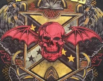 A7X Avenged Sevenfold Rock Metal Punk Black Concert T-Shirt L Winged Skull FREE SHIPPING
