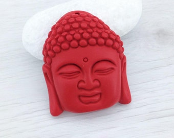CLEARANCE, Buddha Pendant, Face Pendant, Red Resin, Faux Cinnabar