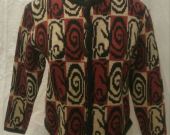 Vintage 1960s/70's op-art cardigan with swirls and squares size M/L Super cool retro look!