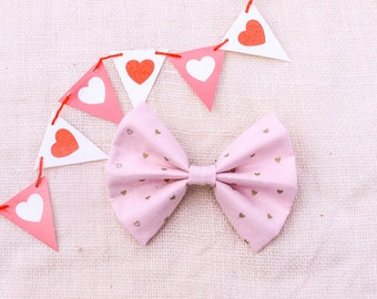 Pastel dog bowtie - light pink dog bow tie, hearts dog bowtie, Easter dog bow tie, pink heart dog bowtie
