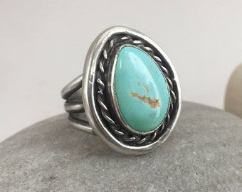 Turquoise Ring, Size 9 Ring, Sterling Silver Ring, Statement Ring, December Birthstone Jewelry, Rustic, Boho, Earthy
