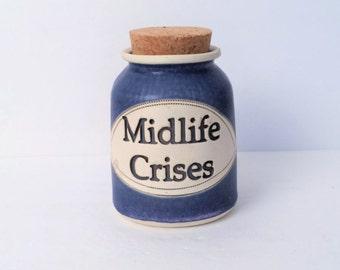 Word Jars, Midlife Crises Jar,Handmade Blue pottery jar