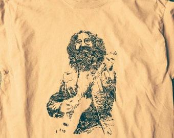 JERRY GARCIA - Grateful Dead Guitarist Swirly Tee - JGB - 60's San Francisco Psychedelic Acid Rock T-shirt - Capt Trips Himself