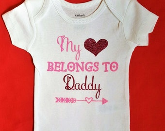 Daddy's Girl Outfits    My Heart Belongs to Daddy    baby girl bodysuit newborn outfit Father's day outfit baby clothes