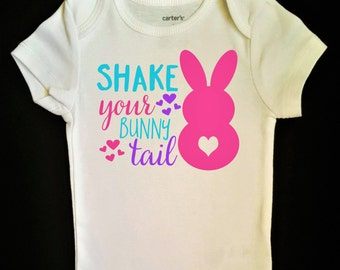 Girls Easter Outfit    Shake Your Bunny Tail!    baby girl bodysuit toddler girl shirt Easter shirt