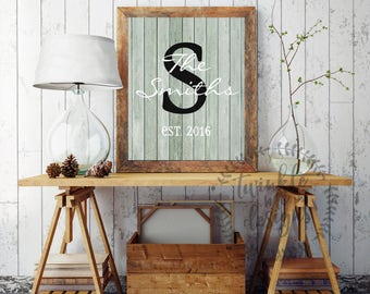 Rustic Housewarming Gift, Personalized Family Established Sign, Housewarming Gift ideas, Family Monogram, Last Name, DIY Printable, Wedding
