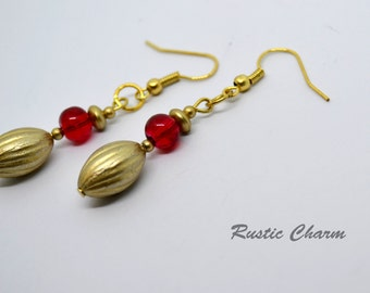 Gold and Red Acrylic Dangle fish hook earrings