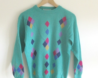 Vintage 1990s green diamond jumper sweater pullover retro golf colourful alice collins 90s 100 percent lambs wool long sleeve size medium