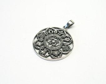 Astamangala jewelry pendant Silver 925 Tibet Sanskrit Ashtamangala