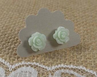 Mint Green Rose Earrings, Sensitive Ears, Plastic Posts, Rose Stud Earrings, Floral Stud Earrings, 10mm Rose Earrings, Coupon Code 10%off