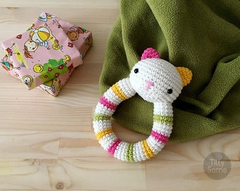 Cat Rattle Pattern | Crochet Rattle Toy | Baby Rattle | Teether Pattern | Infant Rattle PDF Crochet Pattern