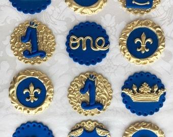 Royal Prince Cupcake Toppers/ Prince Cupcake Toppers/ Royal Blue and Gold Cupcake Toppers/ Prince First Birthday Cupcake Toppers