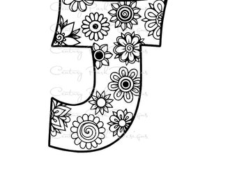 Letter J Alphabet Flowers SVG / JPEG / PNG /pdf / use with Silhouette Studio and Cricut Design Space - Commercial Use - Adult Coloring Page