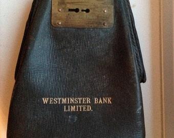 Vintage leather Westminster Bank Cash bag