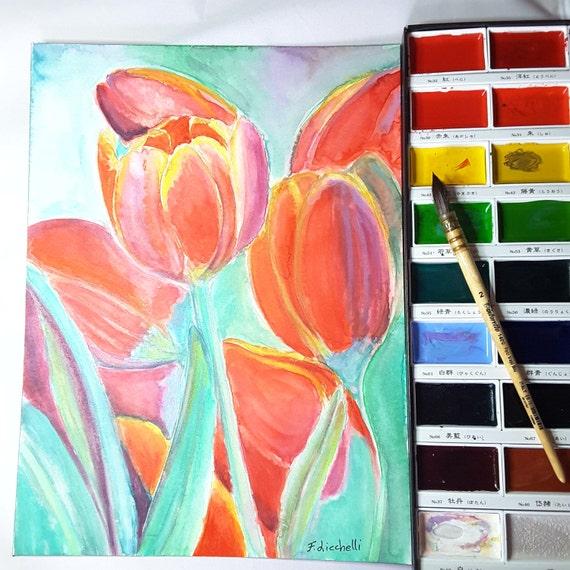 Red tulips, original watercolor, ooak, baby shower gift idea, wall art, home office decoration, lounge art, child's bedroom, infant token.