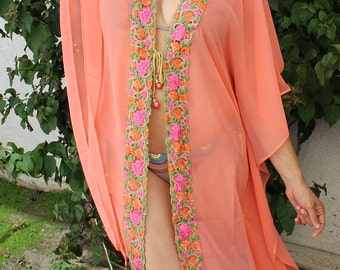 Floral Coral Beach Coverup, Swimsuit Coverups, Beach Caftan, Beach Cover ups, Peach Coverup, Handmade, Honeymoon, Vacation, Resort, Kimono