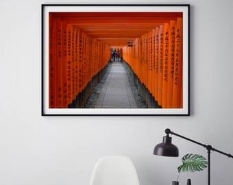 Japanese Shrine Wall Art, Print, Canvas, Shinto Shrine Wall Art, Shrine Photography, Asian Wall Art, Kyoto Japan, Aluminium, Mounted