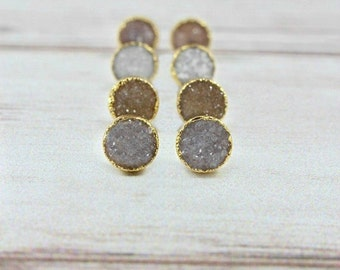 Druzy Stud Earrings, Druzy Earrings, Tiny Druzy Earrings, Druzy Post Earrings, Gold Druzy Earrings, Raw Stone Earrings, Druzy Jewelry, Gift